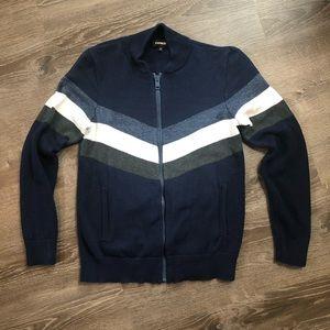 Express Men Blue Full Zip Sweater